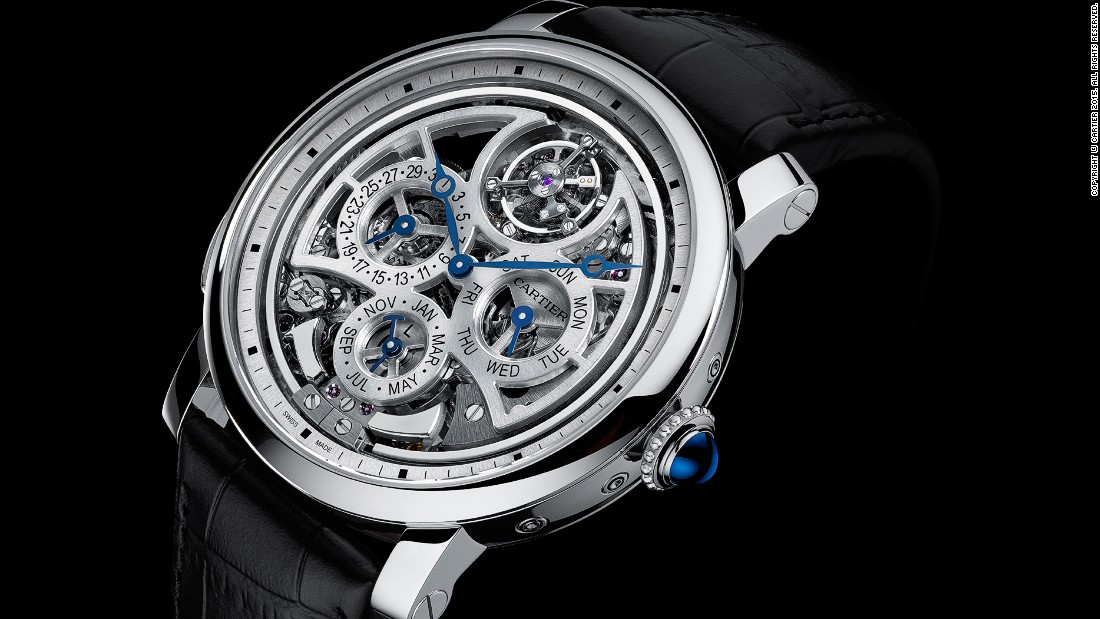 "The Rotonde de Cartier Grande Complication watch, <a href=""http://www.cartier.co.uk/"" target=""_blank"">Cartier</a>'s most complex watch to date, is made up of 578 components and takes 15 weeks to create. It includes a perpetual calendar, a minute repeater and a flying tourbillon, and only needs to be adjusted once every 100 years."