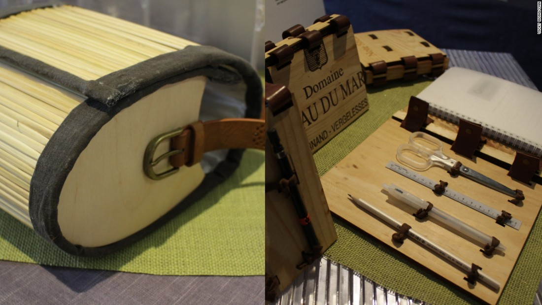 The items were displayed at an exhibition center in Hong Kong at the start of the new year. Other notable pieces on display included a bag made out of chopsticks and a notepad made from an old wine box.