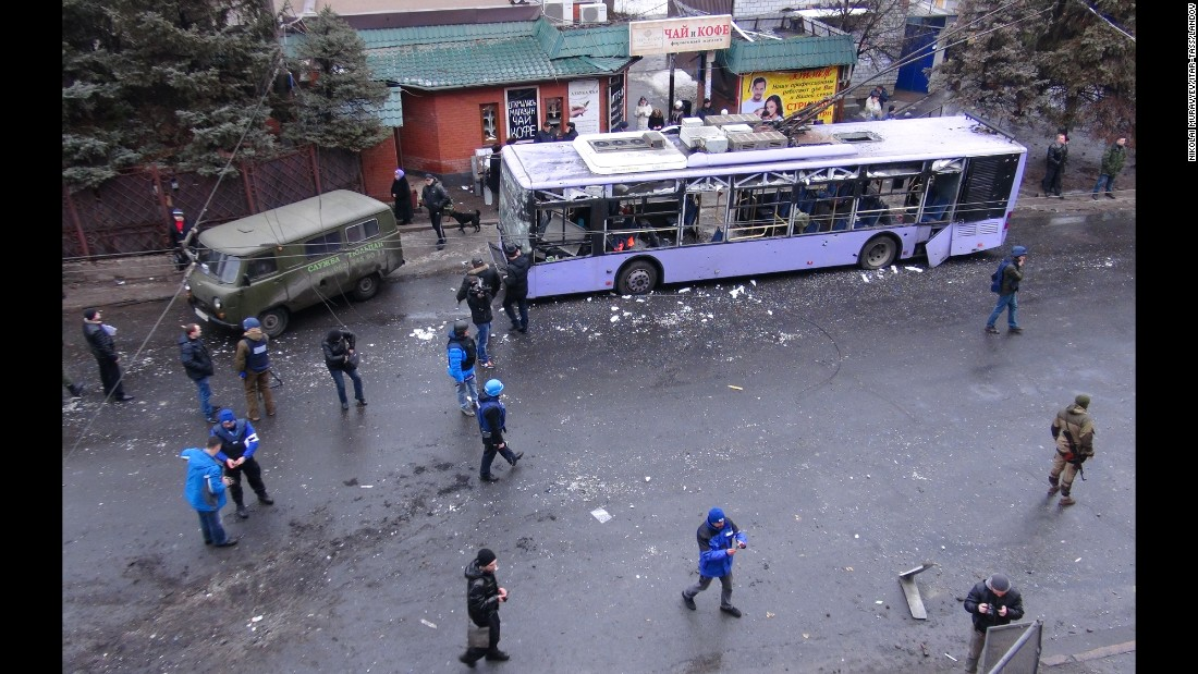 A trolleybus is damaged in Donetsk's Lenin District after its station was hit by a shell on January 22.