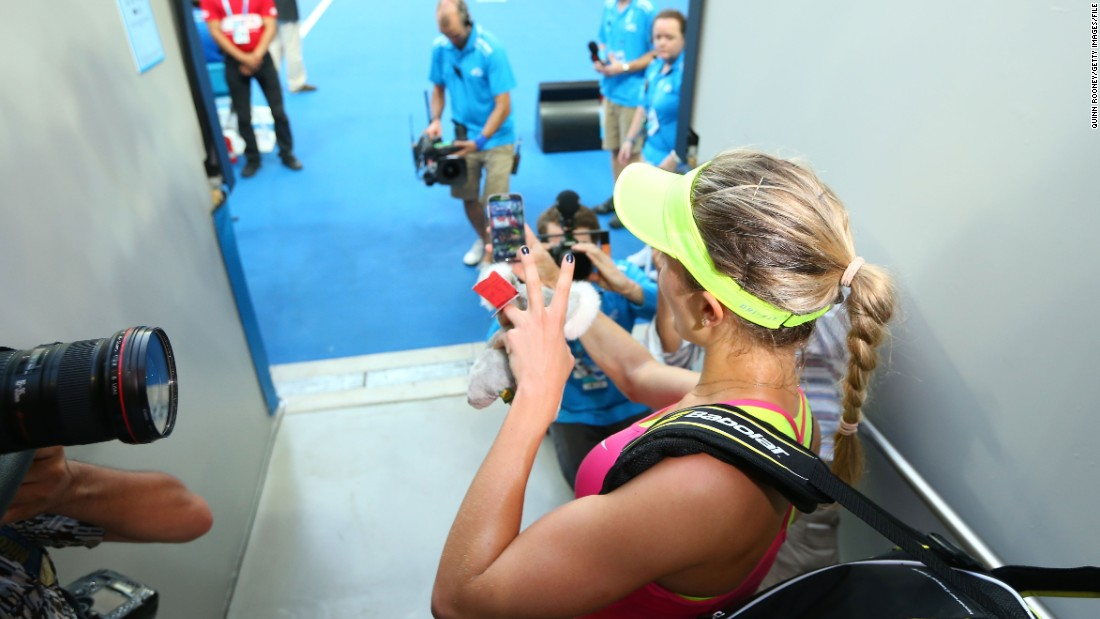 "Seen here taking a selfie before going on court earlier this week, Bouchard described the request as an ""in-the-moment thing"" and ""funny"" before saying she was only interested in focusing on her tennis. <br />"
