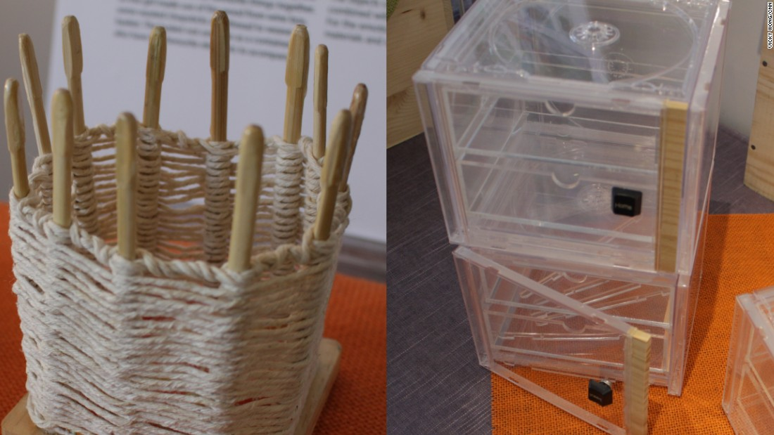 Local college design students and some of the charity's disabled users were challenged to turn discarded items such as CD cases, string and toothpicks into everyday items such as storage containers, phone stands and lamps.