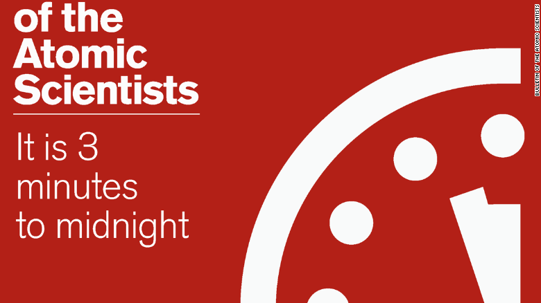Doomsday Clock moved two minutes closer to midnight