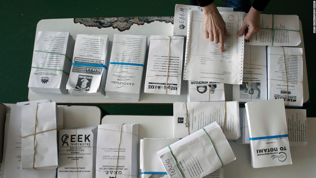 JANUARY 23 -- ATHENS, GREECE: Ballot papers are prepared at a polling station in Athens, Greece, ahead of a snap election which will be held across the country on Sunday. Opinion polls suggest the left-wing Syriza party may win a majority, having promised to renegotiate the terms of Greece's financial bailout.