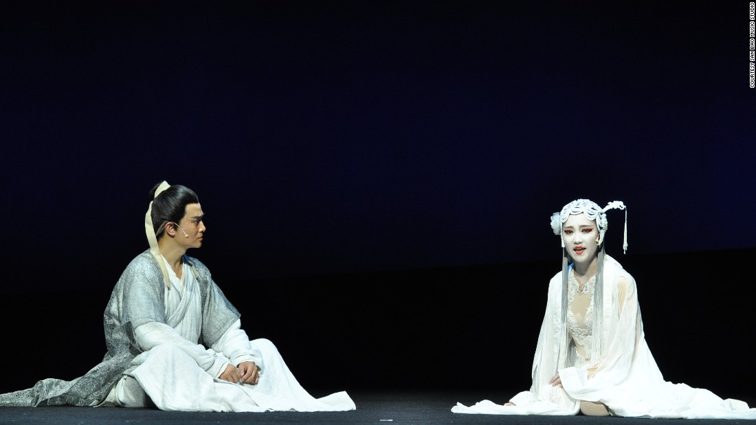 The musical draws on a supernatural love story written during the early Qing Dynasty between a female ghost, Nie Xiaoqian (R) and a young scholar, Ning Caichen (L).