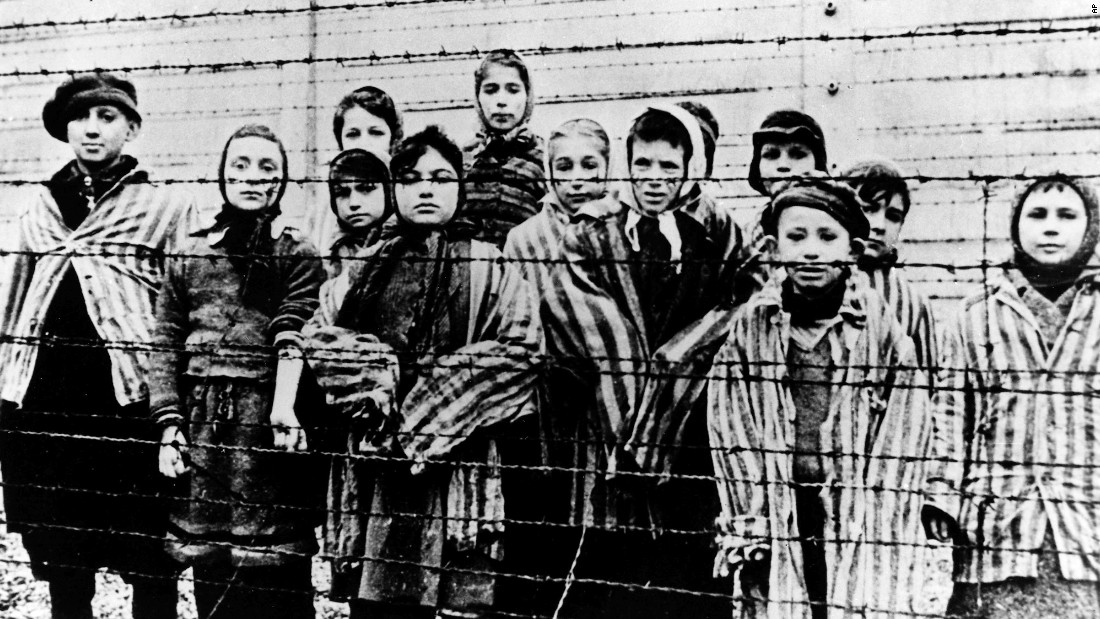 Children are seen just after the liberation by the Soviets. About 7,000 prisoners were in the camp when the Soviets arrived.  Those left behind were too weak or sick to move when Nazi SS officers forced nearly 60,000 prisoners to march west as the Soviets approached.
