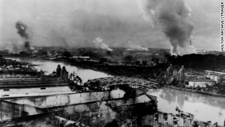 Manila burns following the bombing by the Japanese forces, and the fires set when they left the city as American troops recaptured it, as captured on February 27, 1945.