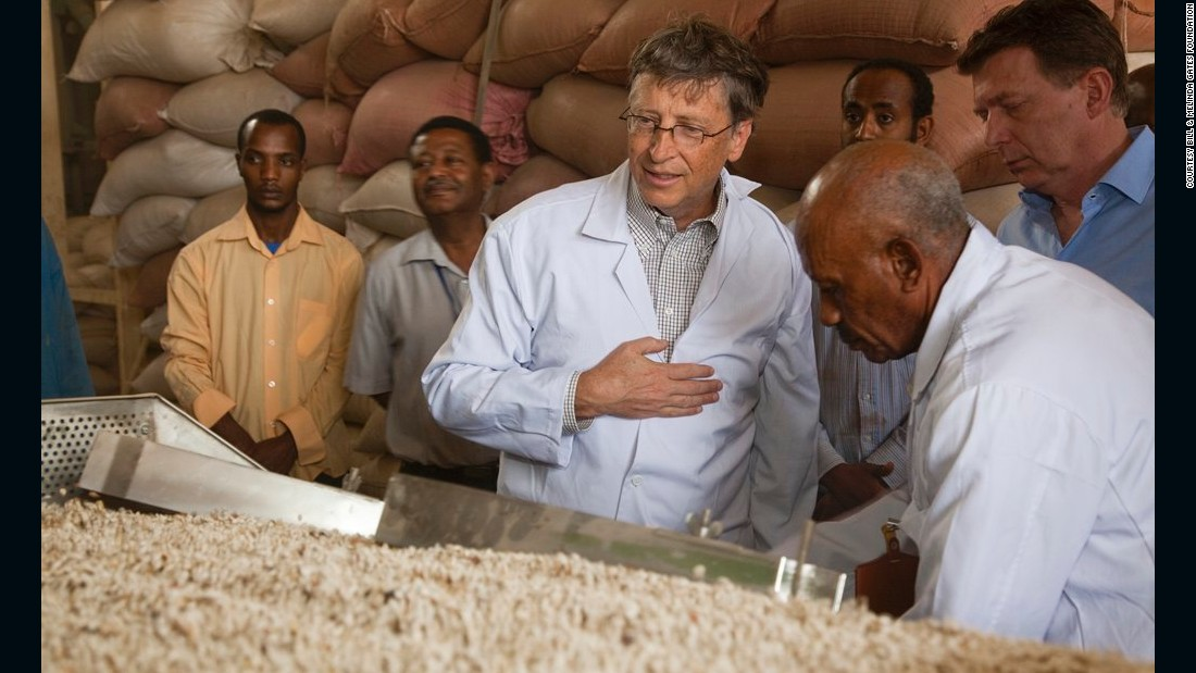 Bill Gates during a site visit to the ACOS Ethiopia processing facility in 2012.
