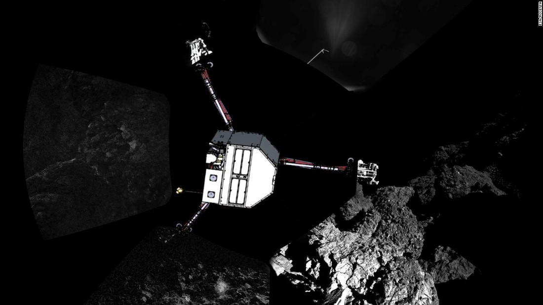 Philae snapped these images after landing, and mission scientists used them to create a panoramic view of the landing site. A graphic shows where the probe would be sitting in the photograph.
