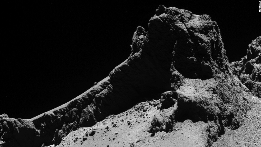 Rosetta took this picture of a section of the comet's two lobes from a distance of about 5 miles (8 kilometers) on October 14, 2014.
