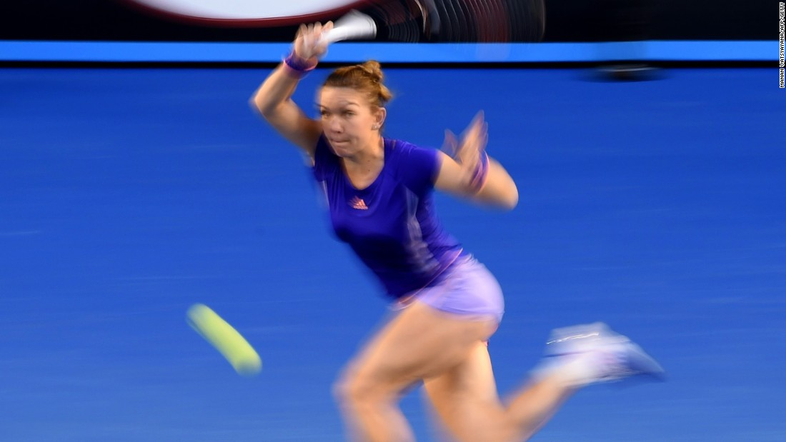 Simona Halep is captured on the run during her straight sets win over Yanina Wickmayer of Belgium to reach the quarterfinals.