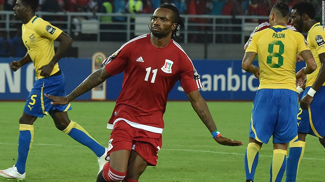 Equatorial Guinea's midfielder Javier Balboa celebrates after scoring his side's crucial opener in the 2-0 win over Gabon to take his side through to the quarterfinals of the Africa Cup of Nations.