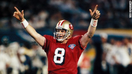 San Francisco 49ers Steve Young  in Super Bowl XXIX against the San Diego Chargers at the Joe Robbie Stadium on January 29, 1995 in Miami, FL. The 49ers defeated the Chargers 49-26. (AP Photo/Tom DiPace)