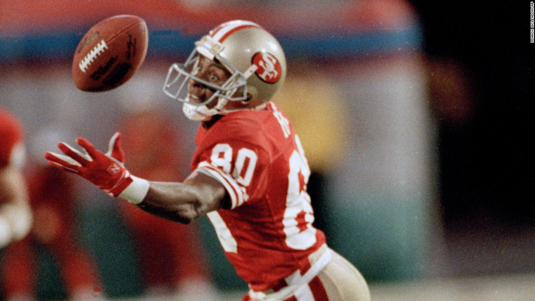 San Francisco wide receiver Jerry Rice was named Super Bowl MVP in 1989 after he caught 11 balls for a record 215 yards against Cincinnati. The Hall of Famer also holds Super Bowl records for most points and most touchdowns in a career. He scored six touchdowns over four Super Bowls.