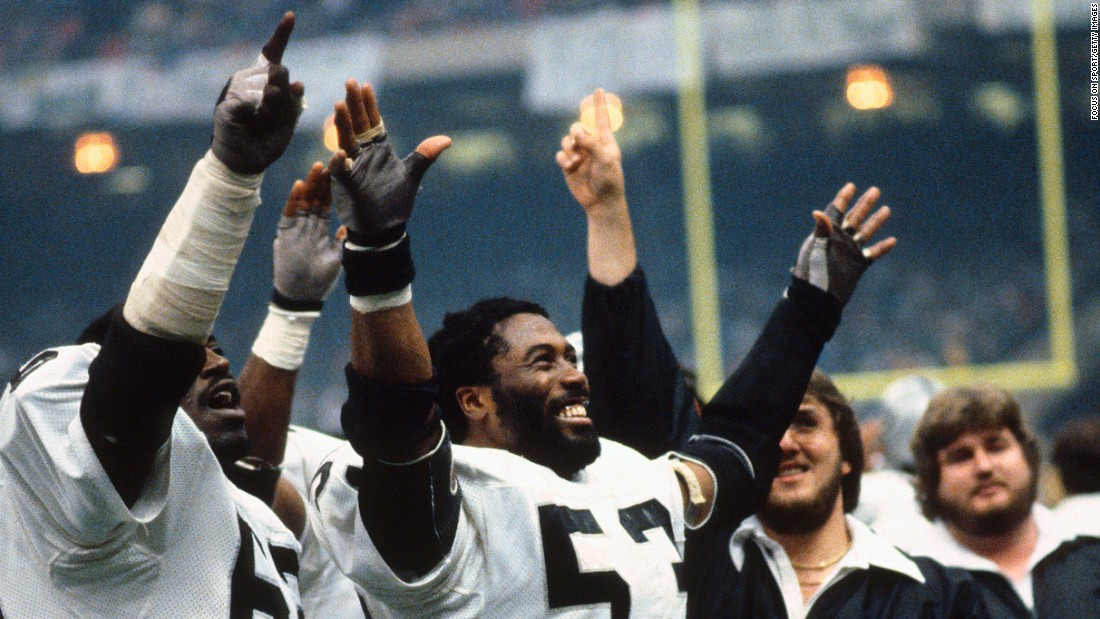 Oakland linebacker Rod Martin (No. 53) had three interceptions as the Raiders defeated the Philadelphia Eagles in 1981.