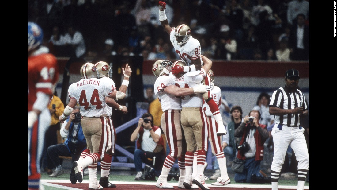 San Francisco demolished Denver 55-10 in 1990, winning by a record 45 points. It was the 49ers' fourth Super Bowl title in nine years.