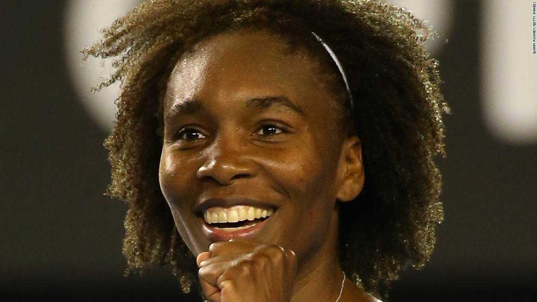 Venus Williams had reason to smile Monday at the Australian Open. When she beat Agnieszka Radwanska, she achieved a first grand slam quarterfinal in five years.