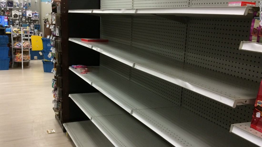 Storm preperations leave store shelves empty in Brooklyn, New York, Monday January 26, 2015.