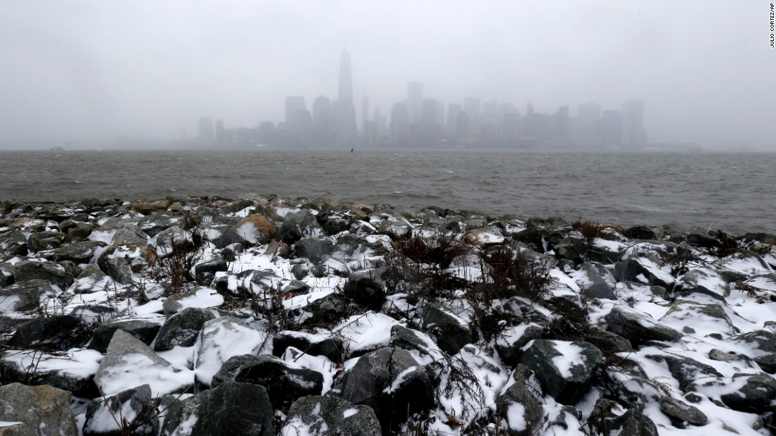 The New York skyline is seen from Liberty State Park in Jersey City, New Jersey, on January 26.