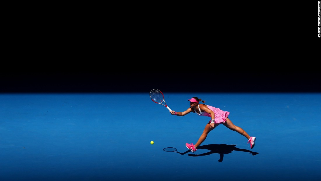Lucie Hradecka plays a forehand during a third-round match at the Australian Open on Friday, January 23.