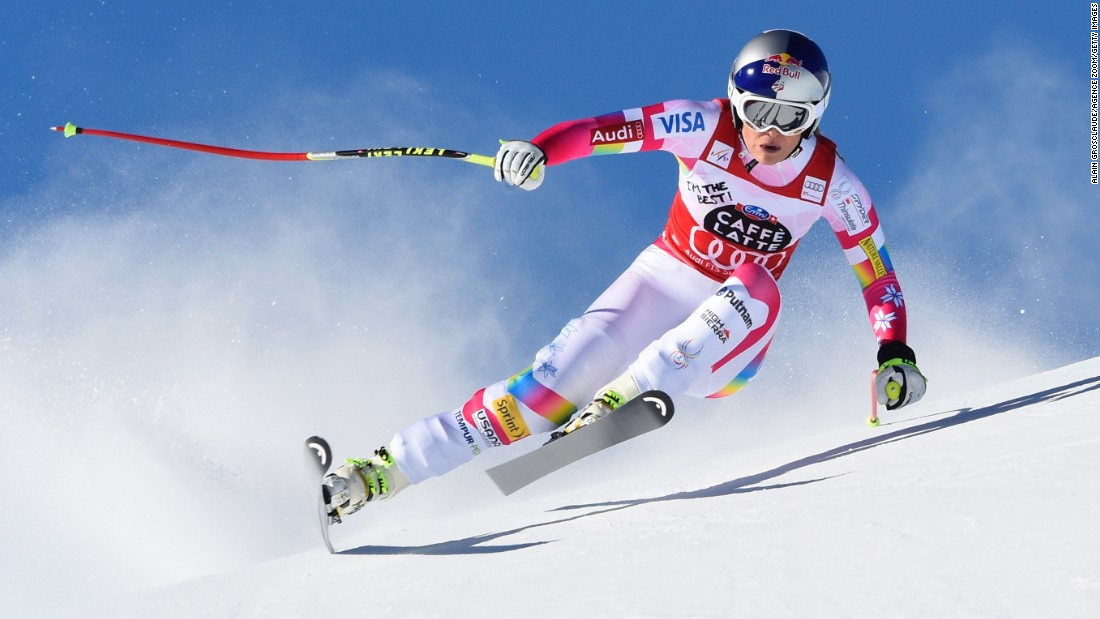 Lindsey Vonn races in the Women's Downhill during a World Cup event in St. Moritz, Switzerland, on Saturday, January 24.