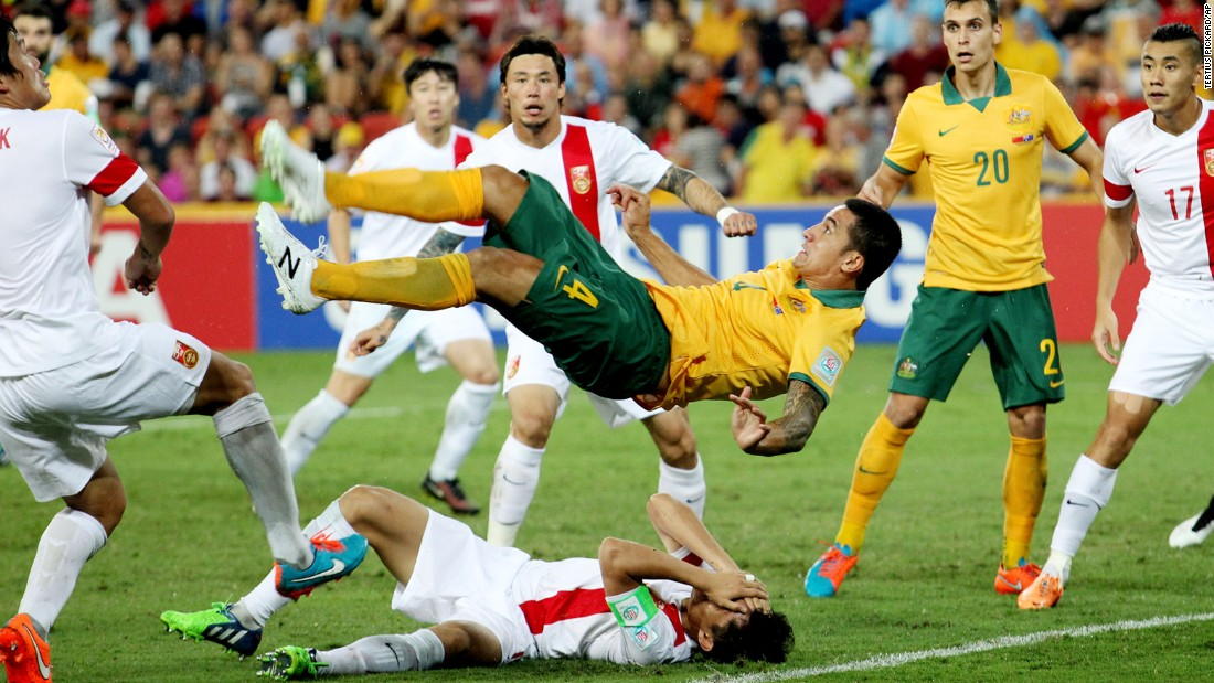 Australia's Tim Cahill performs an overhead kick to score a spectacular goal against China during the quarterfinals of the Asian Cup on Thursday, January 22. Cahill had two goals in the match as Australia advanced with a 2-0 victory.