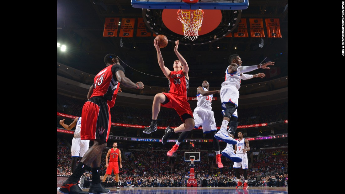 Toronto's Tyler Hansbrough rises for a layup during an NBA game in Philadelphia on Friday, January 23.