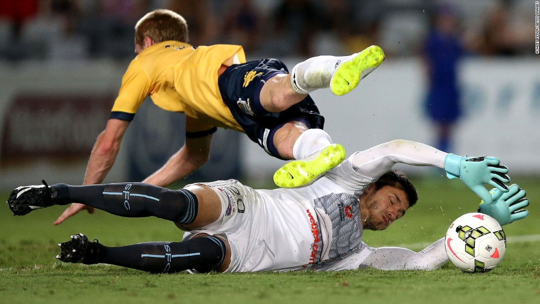 "Sydney FC goalkeeper Vedran Janjetovic makes a save on Matthew Simon of the Central Coast Mariners during an A-League match in Gosford, Australia, on Saturday, January 24. Sydney FC won the match 5-1. <a href=""http://www.cnn.com/2015/01/20/sport/gallery/what-a-shot-0120/index.html"" target=""_blank"">See 33 amazing sports photos from last week</a>"