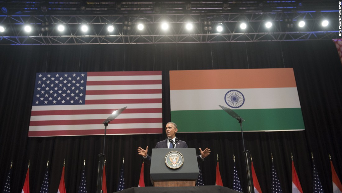 Obama speaks at Siri Fort Auditorium in New Delhi on January 27.
