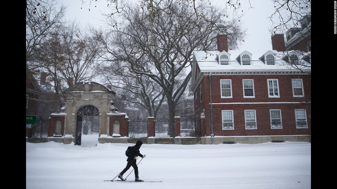A person skis down Memorial Drive in Cambridge, Massachusetts, on January 27.