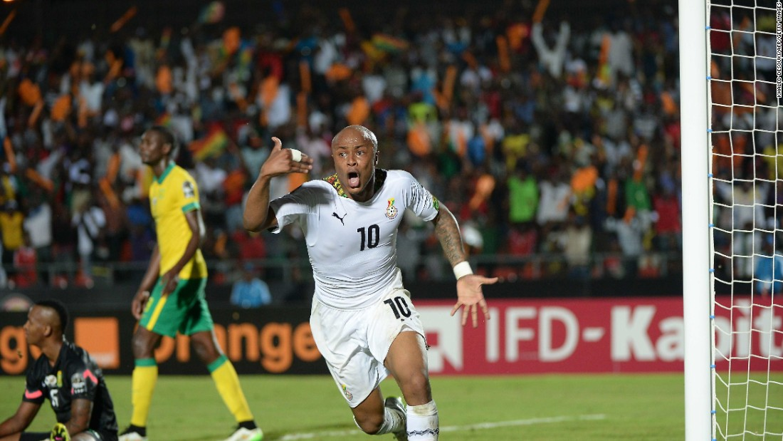 Ghana's Andre Ayew celebrates after scoring the second goal in his country's 2-1 come-from-behind Group C victory over South Africa at AFCON 2015.