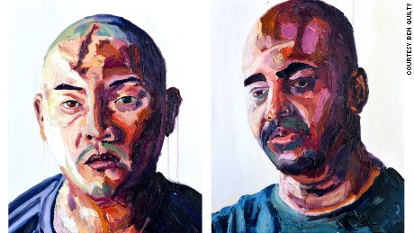 Portraits of Andrew Chan and Myuran Sukumaran, as painted by Sukumaran.
