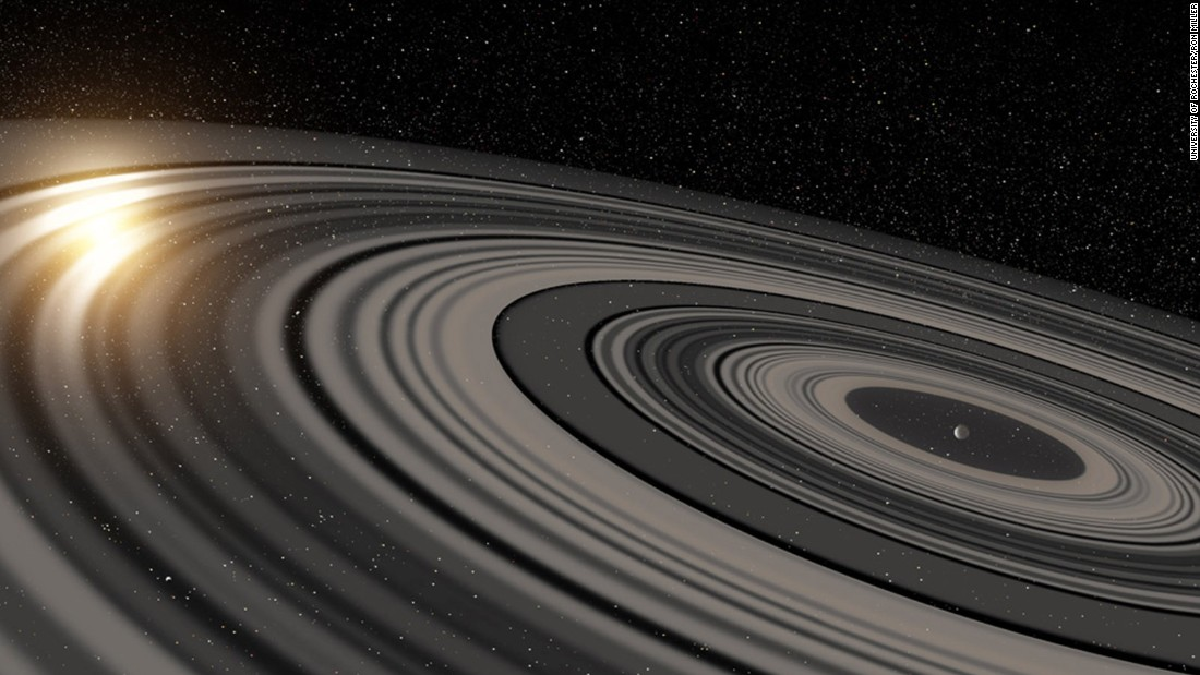 Using powerful optics, astronomers have found a planet-like body, J1407b, with rings 200 times the size of Saturn's. This is an artist's depiction of the rings of planet J1407b, which are eclipsing a star.