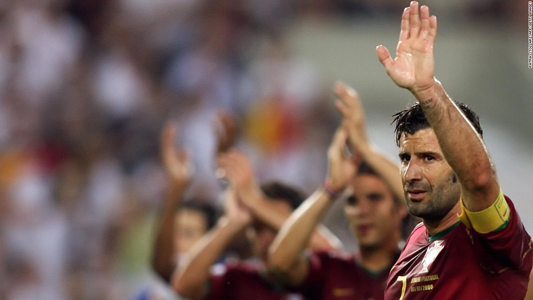 Figo called time on his Portugal career at the end of the 2006 World Cup, his last appearance coming in a third place playoff defeat to Germany after it had lost to France in the semifinal.