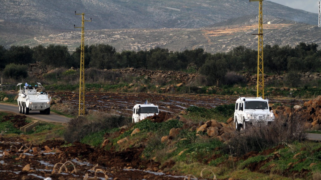 Spanish U.N. peacekeepers patrol the Lebanon-Israel border on January 28.