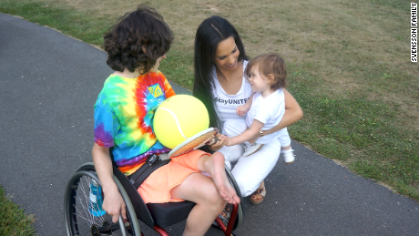 Ismini Svensson and her daughter Rafaela visit an adaptive sports camp in Connecticut.