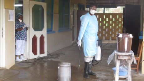 At the ELWA Hospital in Liberia, the staff uses bleach to disinfect everything.
