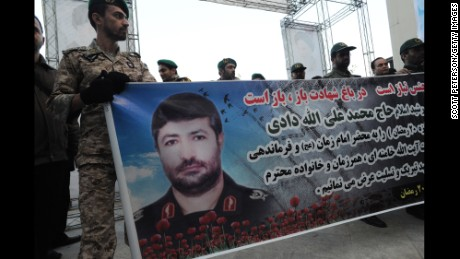 Iranian Revolutionary Guards carry a banner during the funeral of Gen. Mohammad Ali Allahdadi on January 21.