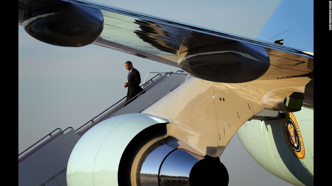 Obama steps off Air Force One at Andrews Air Force Base in April.