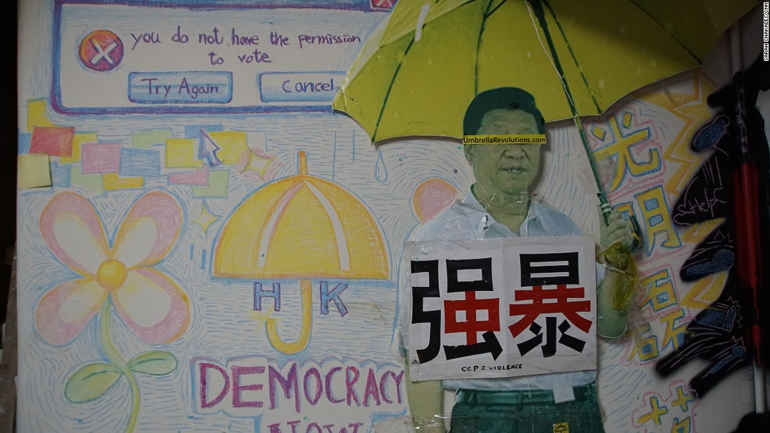 "In addition to original posters from the Hong Kong pro-democracy protests, the ""Occupy Central Hotel"" is decorated with artwork by activists depicting some of the demonstration's memorable moments."