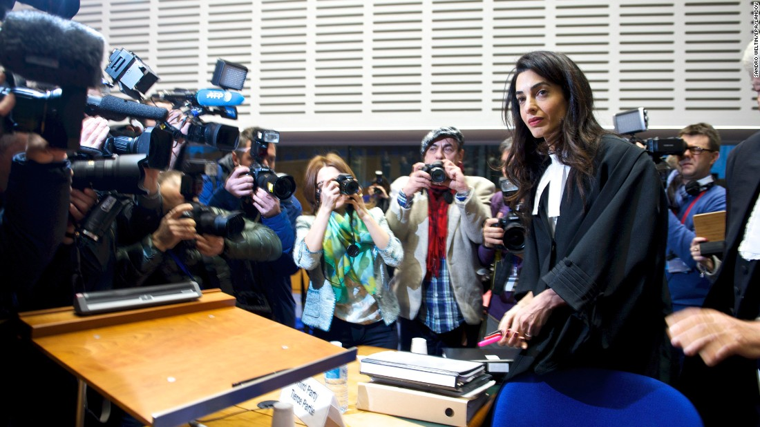 A handout picture provided by the Council of Europe shows lawyer Amal Alamuddin Clooney attending a hearing Wednesday, January 28, at the European Court of Human Rights in Strasbourg, France.