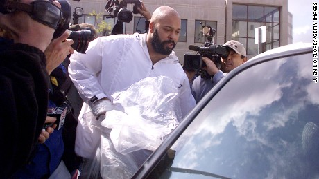 "Music producer Marion ""Suge"" Knight of Death Row records exits Los Angeles County Jail after being in jail for over two months for parole violations on February 26, 2002 in Los Angeles, California."