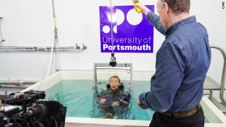 MainSail presenter, Shirley Robertson, learns how to cope with cold water shock at the plunge at the University of Portsmouth's extreme weather lab.