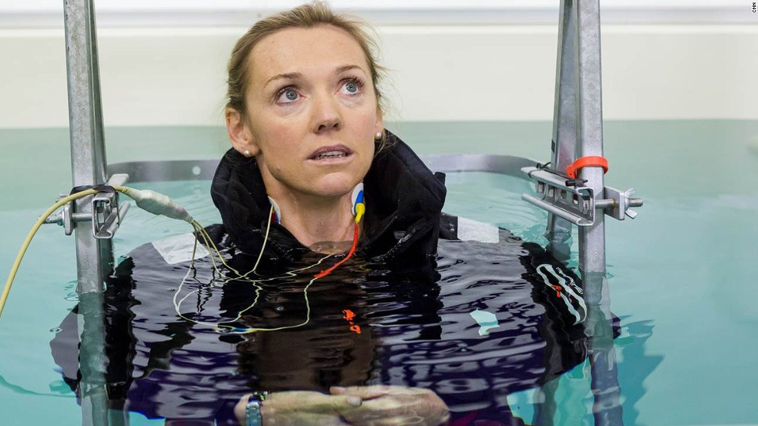 Elite sailors don't just train for races -- they train for disasters. At  South Tyneside College's Extreme Environments Lab in Newcastle, athletes are taught what to do in an ocean emergency. Here, CNN's MainSail presenter, Shirley Robertson, copes with cold water shock. <br />