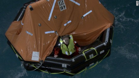 MainSail presenter, Shirley Robertson, takes the plunge in a life raft at the University of Portsmouth's extreme weather lab.