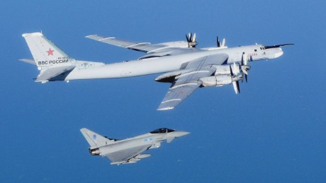 Russian jet bombers fly over British Channel