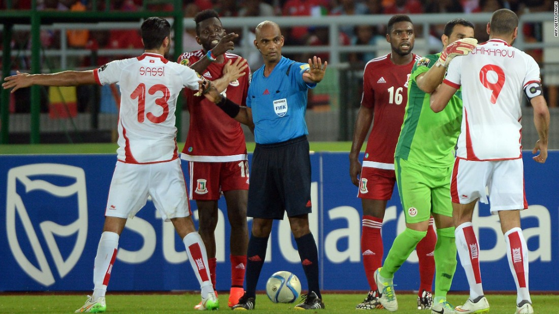 The referee took center stage in a bad-tempered AFCON quarterfinal between Tunisia and Equatorial Guinea - won 2-1 by the hosts.
