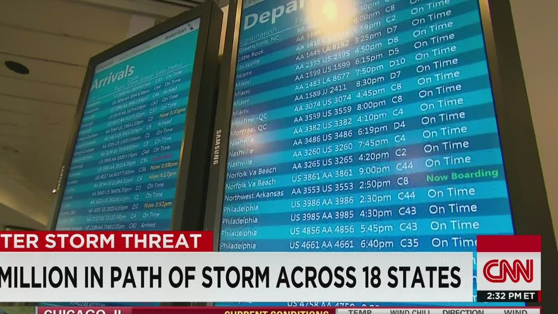 Blizzard hits central U.S., heads Northeast; air travel takes a hit