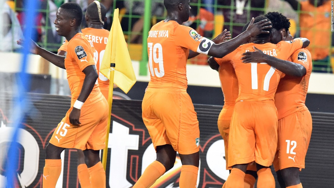 Wilfried Bony (far right) is congratulated by his Ivory Coast teammates after scoring during the 3-1 win over Algeria in the AFCON quarterfinals.