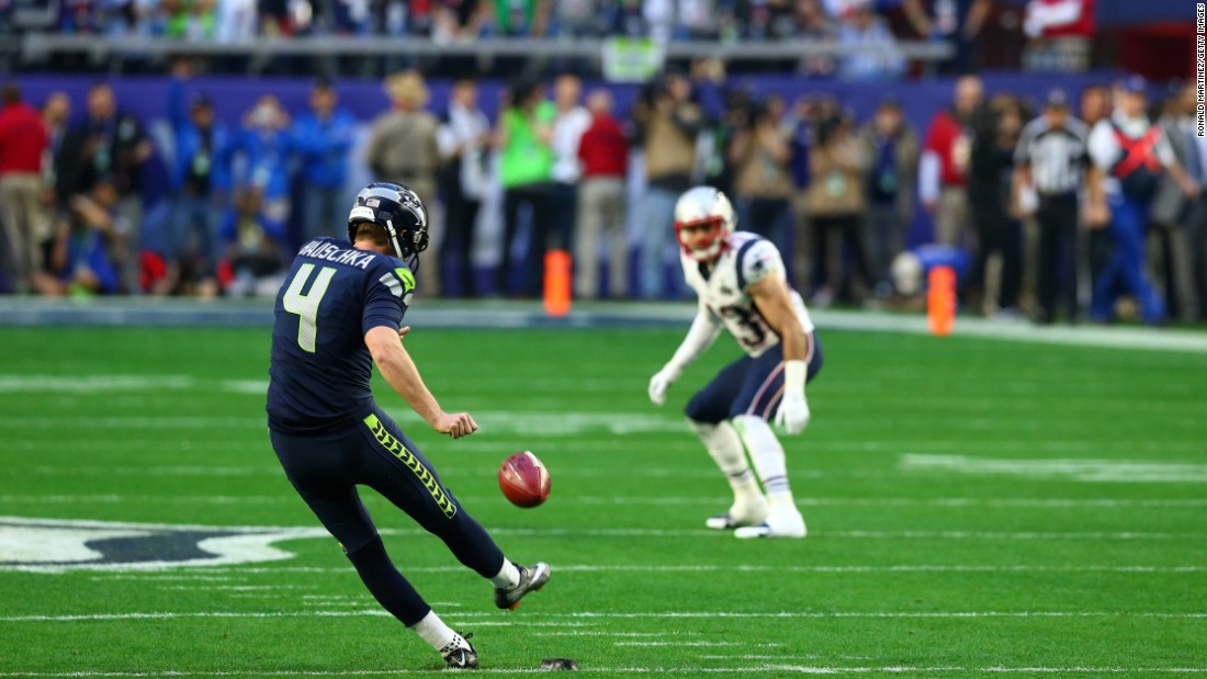 Seattle's Steven Hauschka kicks the ball to start the game.
