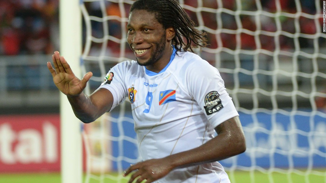 Dieudonne Mbokani celebrates after scoring a goal during the Democratic Republic of Congo's 4-2 win over Congo in the AFCON quarterfinals.